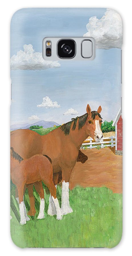 Landscape Galaxy S8 Case featuring the painting Mare And Colt by Joseph Mintz