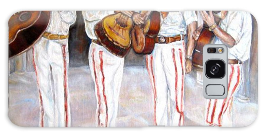 Mariachis Galaxy S8 Case featuring the painting Mariachi Musicians by Carole Spandau