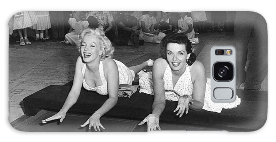 1950's Galaxy Case featuring the photograph Marilyn Monroe And Jane Russell by Underwood Archives