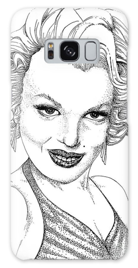 Marilyn Monroe Galaxy S8 Case featuring the drawing Marilyn Monroe -stipple by Linda Simon