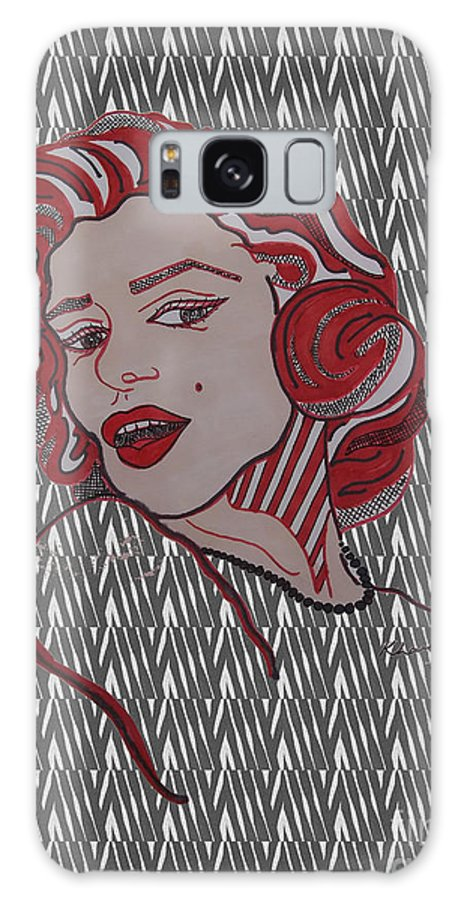 Love Galaxy S8 Case featuring the drawing Marilyn Monroe Zebra by Karen Larter