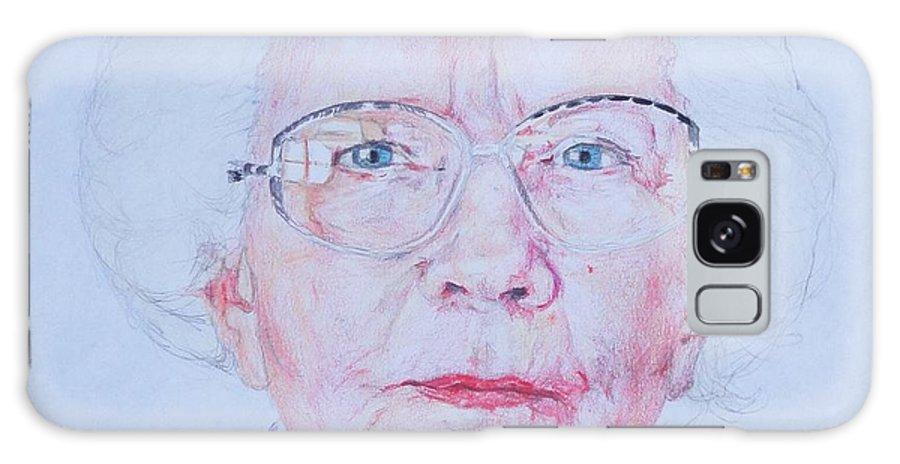 Elderly Galaxy S8 Case featuring the drawing Marjorie's Portrait by PainterArtist FIN