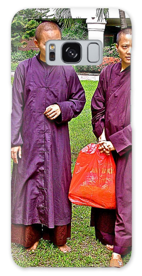 Maroon-robed Monks At Buddhist University In Chiang Mai Galaxy S8 Case featuring the photograph Maroon-robed Monks At Buddhist University In Chiang Mai-thailand by Ruth Hager
