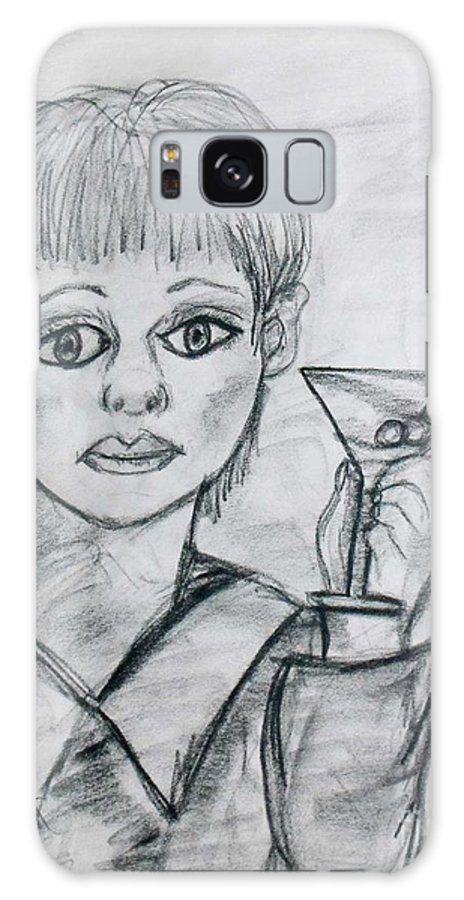 Woman Drinking Galaxy S8 Case featuring the drawing Martini Girl by Catherine Ratliff