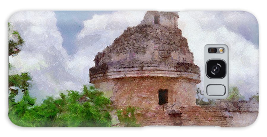 Yucatan Galaxy S8 Case featuring the painting Mayan Observatory by Jeffrey Kolker