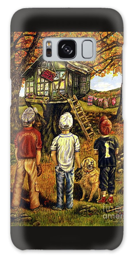 Trees Galaxy Case featuring the painting Meadow Haven by Linda Simon