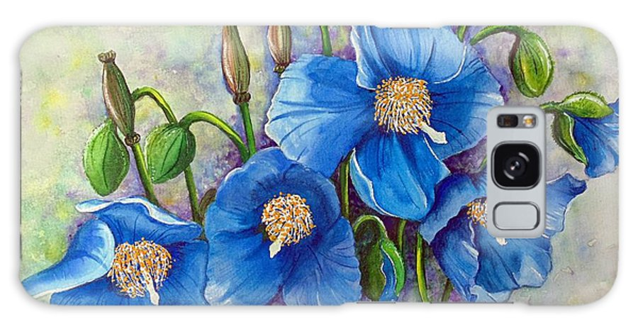Blue Hymalayan Poppy Galaxy S8 Case featuring the painting Meconopsis  Himalayan Blue Poppy by Karin Dawn Kelshall- Best