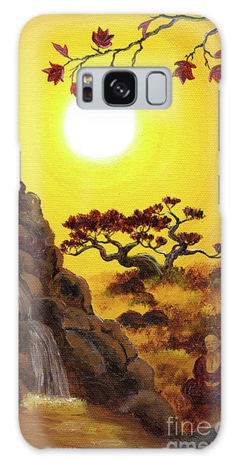 Zen Galaxy S8 Case featuring the painting Meditating By A Golden Waterfall by Laura Iverson