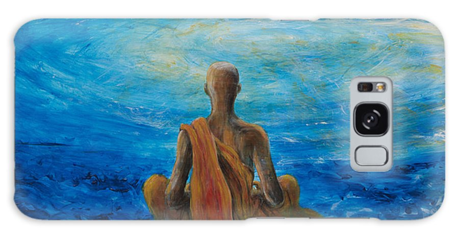 Monk Galaxy S8 Case featuring the painting Meditation by Nik Helbig