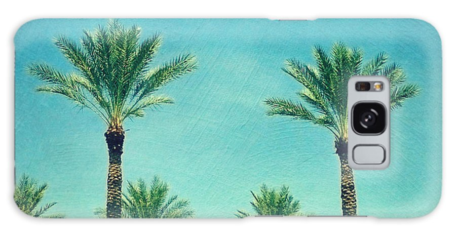 Landscape Galaxy Case featuring the photograph Meet Me In Paradise- Palm Trees With Typography by Sylvia Cook