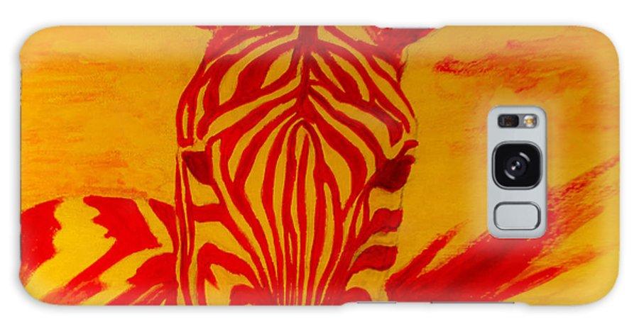 Zebra Galaxy S8 Case featuring the painting Mellow Yellow Zebra by Scott Dokey