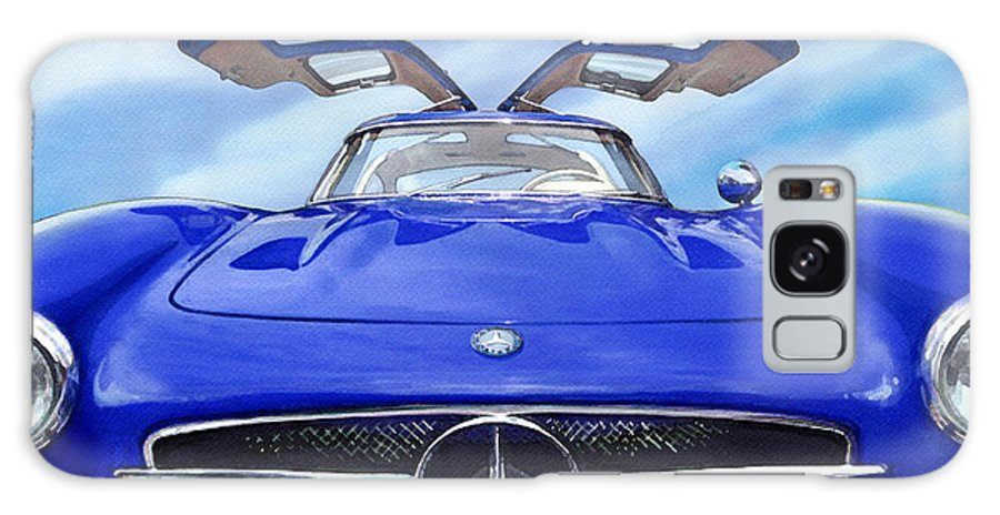 Cars. German Cars Galaxy S8 Case featuring the painting Mercedes Gullwing In Blue by Rod Seel
