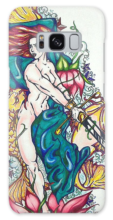 Mermaid Galaxy S8 Case featuring the mixed media Mermaid Warrior by Christine Maeda