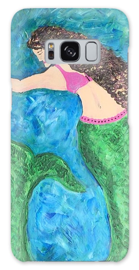 Mermaid Galaxy S8 Case featuring the painting Mermaid With Star Fish by Christine Chase