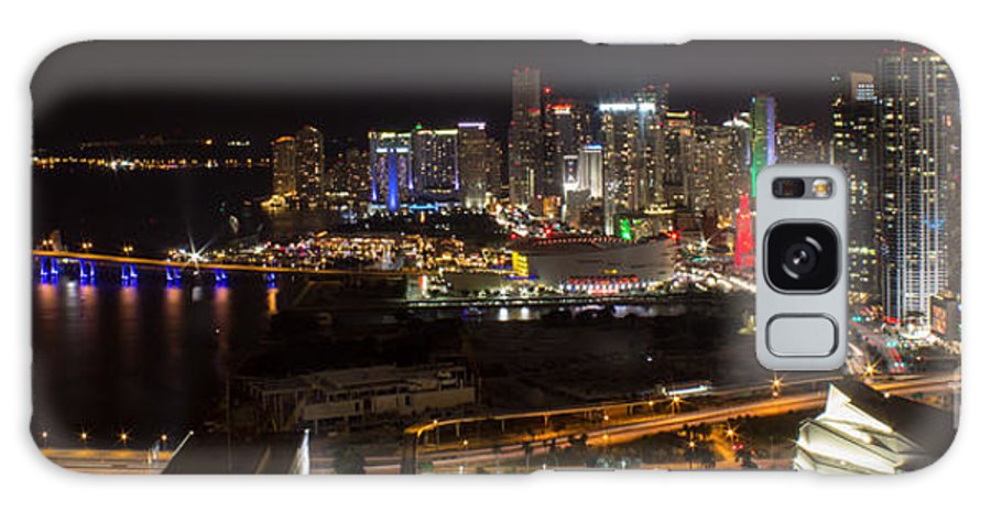 Adrienne Archt Center Galaxy S8 Case featuring the photograph Miami After Dark II Skyline by Rene Triay Photography