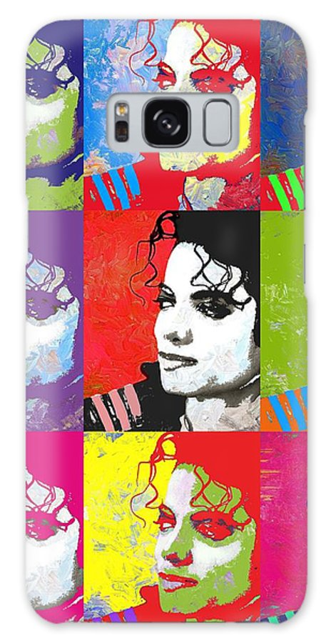 Michael Galaxy S8 Case featuring the digital art Michael Jackson Andy Warhol Style by Linda Mears