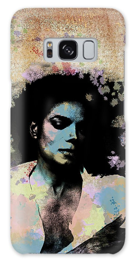 Feature Art Galaxy S8 Case featuring the digital art Michael Jackson - Scatter Watercolor by Paulette B Wright