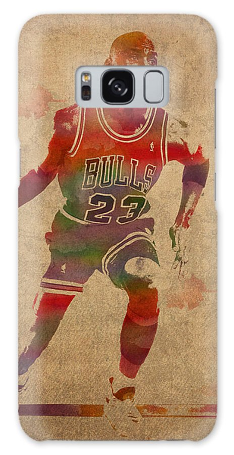 Michael Jordan Galaxy S8 Case featuring the mixed media Michael Jordan Chicago Bulls Vintage Basketball Player Watercolor Portrait On Worn Distressed Canvas by Design Turnpike
