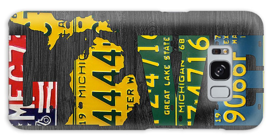 Michigan Galaxy S8 Case featuring the photograph Michigan Love Recycled Vintage License Plate Art State Shape Lettering Phrase by Design Turnpike