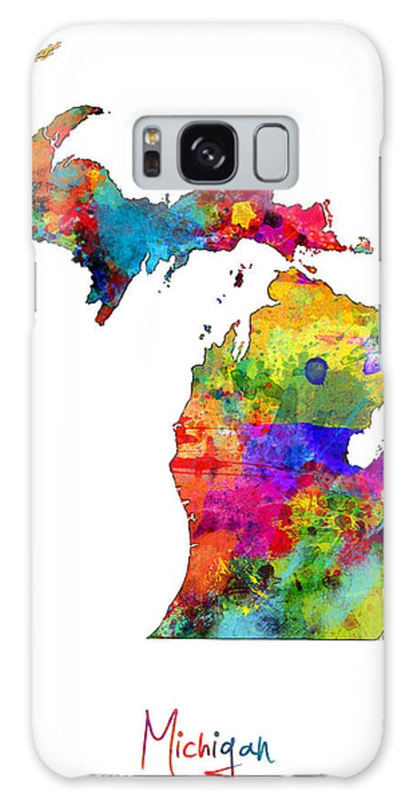 United States Map Galaxy S8 Case featuring the digital art Michigan Map by Michael Tompsett