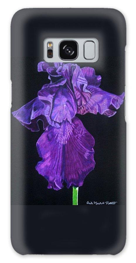Iris Galaxy S8 Case featuring the drawing Midnight Iris by Anita Putman