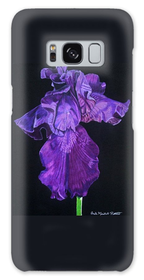 Iris Galaxy S8 Case featuring the drawing Midnight Iris by Anita Putman