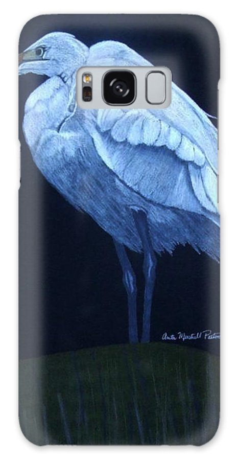 Egret Galaxy S8 Case featuring the drawing Midnight Watch by Anita Putman