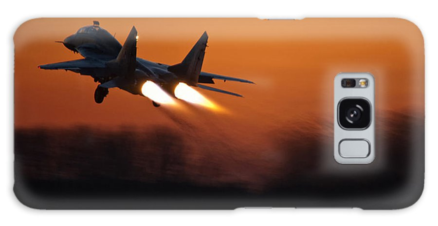 Mig-29 Galaxy S8 Case featuring the photograph Mig-29 At Sunset by Marta Holka