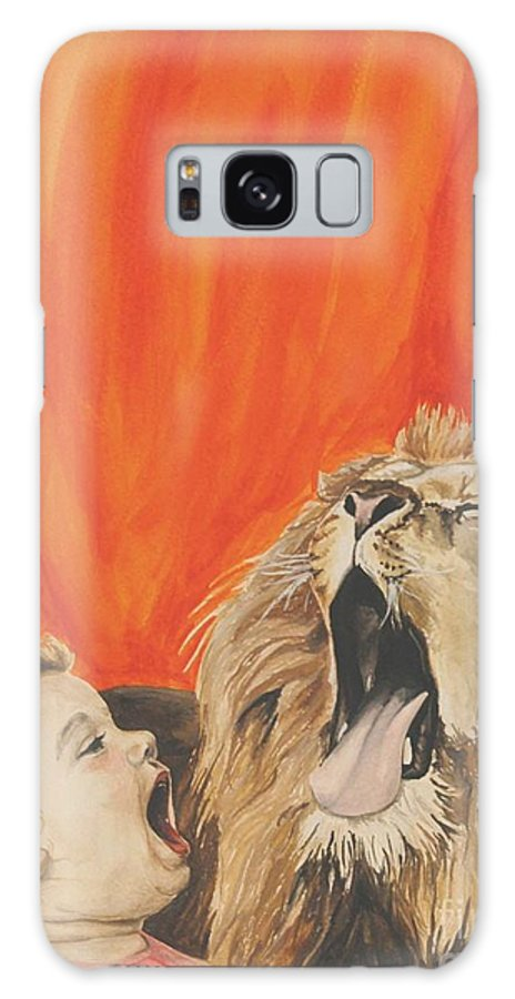 Lion Galaxy S8 Case featuring the painting Mika And Lion by Tamir Barkan