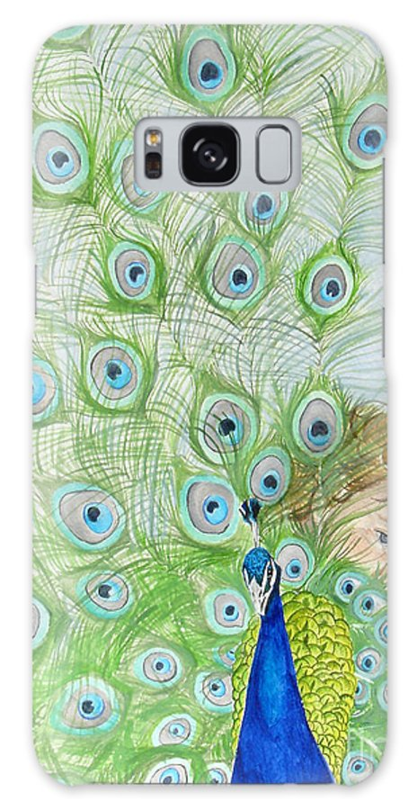 Peacock Galaxy S8 Case featuring the painting Mika And Peacock by Tamir Barkan