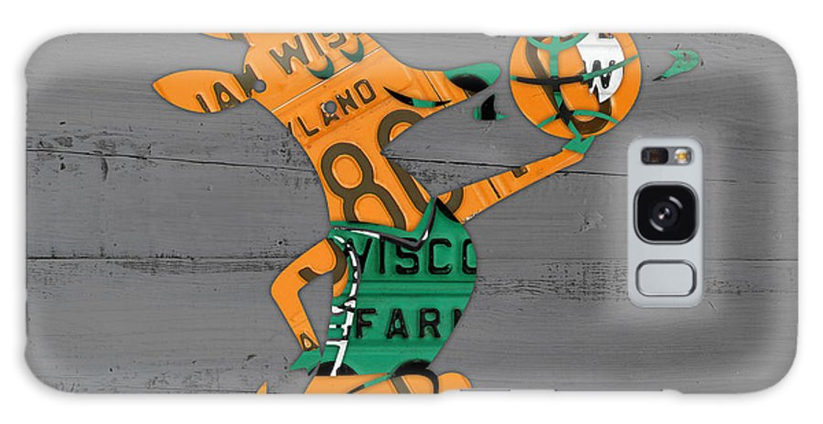 Milwaukee Galaxy S8 Case featuring the mixed media Milwaukee Bucks Basketball Team Logo Vintage Recycled Wisconsin License Plate Art by Design Turnpike