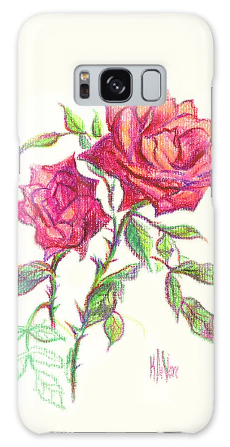 Nature Galaxy Case featuring the painting Minature Red Rose by Kip DeVore