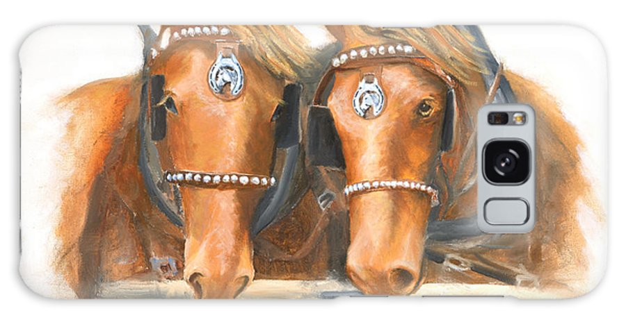 Horse Galaxy Case featuring the painting Mini And Jake by Jerry McElroy
