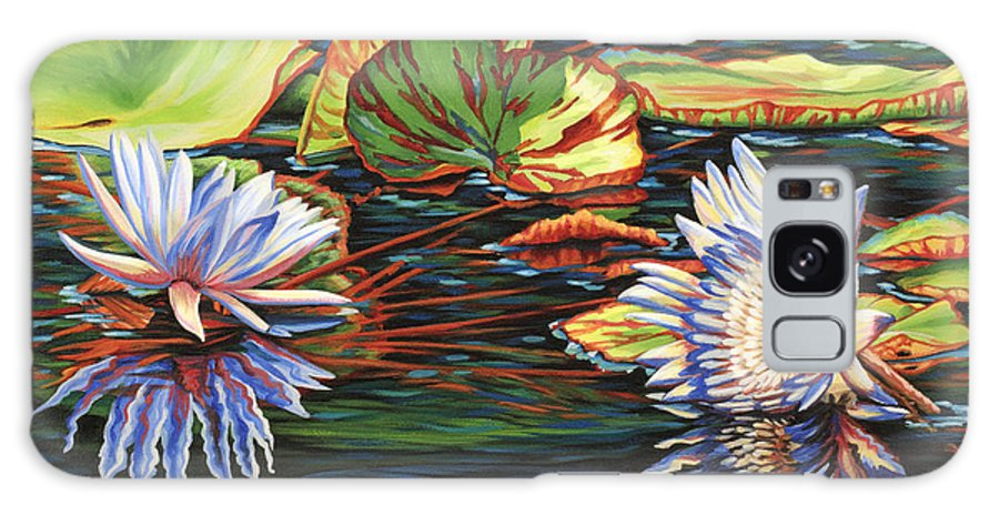 Lily Lilies Water Pond Pad Flower Flowers Floral Lake Galaxy S8 Case featuring the painting Mirrored Lilies by Jane Girardot