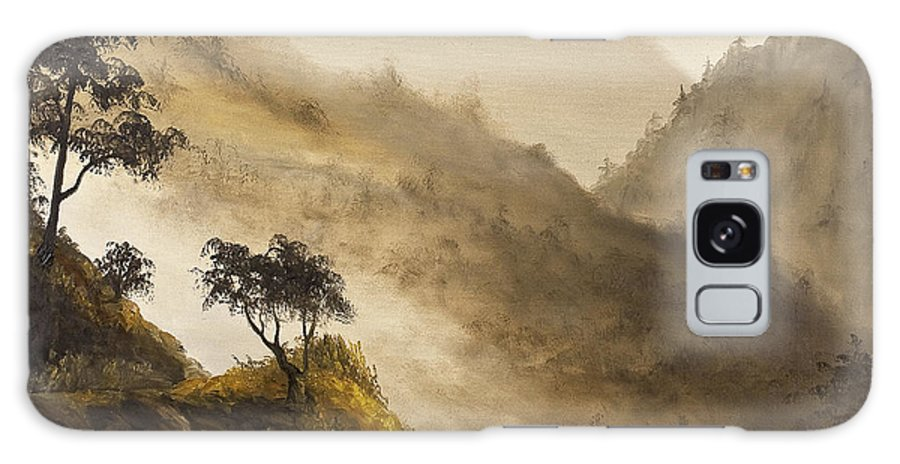 Landscape Galaxy S8 Case featuring the painting Misty Hills by Darice Machel McGuire