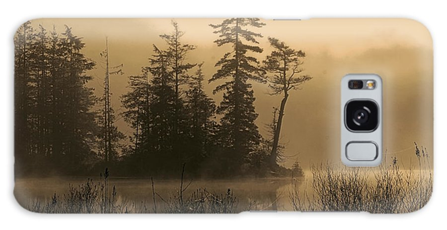 Silhouettes Galaxy S8 Case featuring the photograph Misty Lake And Trees Silhouette by Peggy Collins