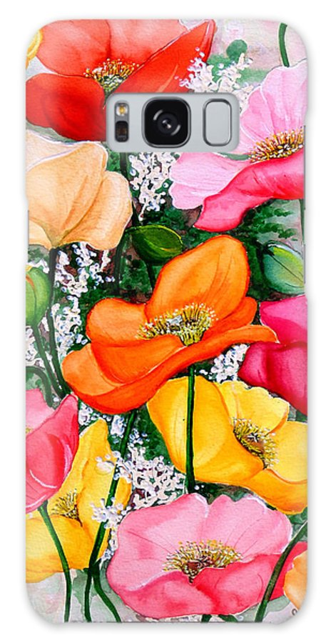 Poppies Galaxy Case featuring the painting Mixed Poppies by Karin Dawn Kelshall- Best