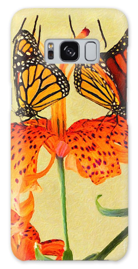 Butterfly Galaxy S8 Case featuring the painting Monarch Butterflies by Safran Fine Art