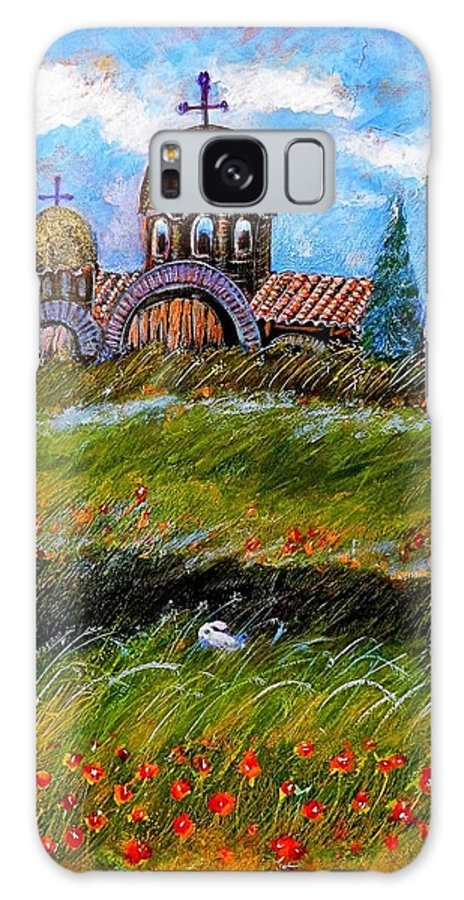 Monastery In Greece Galaxy S8 Case featuring the painting Monastery In Greece by Ion vincent DAnu