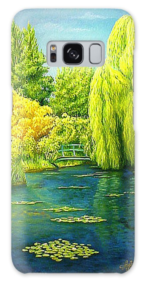 Monets Lily Pond Galaxy Case featuring the painting Monets Lily Pond In Green by Gary Hernandez
