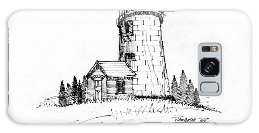 Monhegan Island Galaxy S8 Case featuring the drawing Monhegan Lighthouse 1987 by Richard Wambach