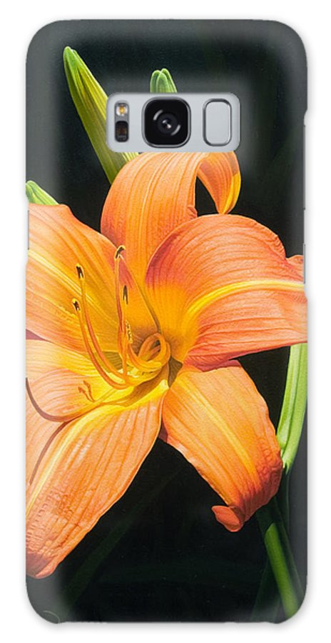 Floral Galaxy S8 Case featuring the painting Monikas Orange Lily by Gary Hernandez