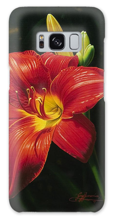 Lily Galaxy Case featuring the painting Monikas Red Lily by Gary Hernandez