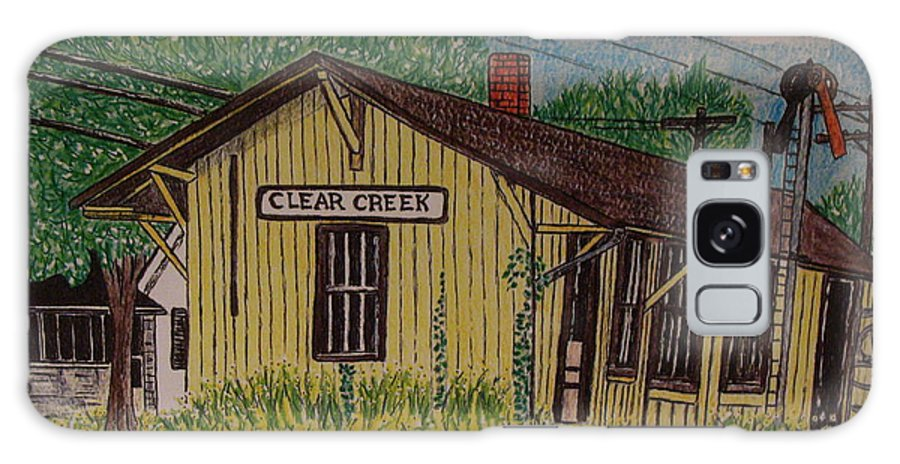 Monon. Monon Train Galaxy S8 Case featuring the painting Monon Clear Creek Indiana Train Depot by Kathy Marrs Chandler