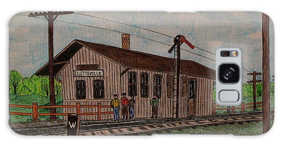 Monon Galaxy S8 Case featuring the painting Monon Ellettsville Indiana Train Depot by Kathy Marrs Chandler