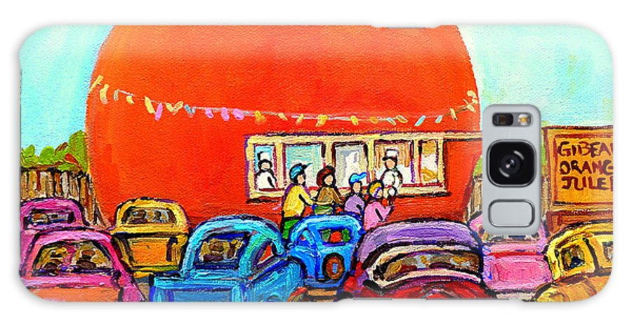 Orange Julep With Classic Cars Galaxy S8 Case featuring the painting Montreal Art Orange Julep Paintings Montreal Summer City Scenes Carole Spandau by Carole Spandau