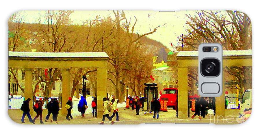 Galaxy S8 Case featuring the painting Montreal Memories Mcgill Students On Campus Roddick Gates Montreal Collectible Art Prints C Spandau by Carole Spandau