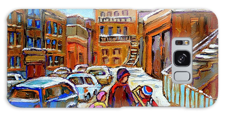 Montreal Galaxy S8 Case featuring the painting Montreal Paintings Winter Walk Past The Old School Snowy Day City Scene Carole Spandau by Carole Spandau