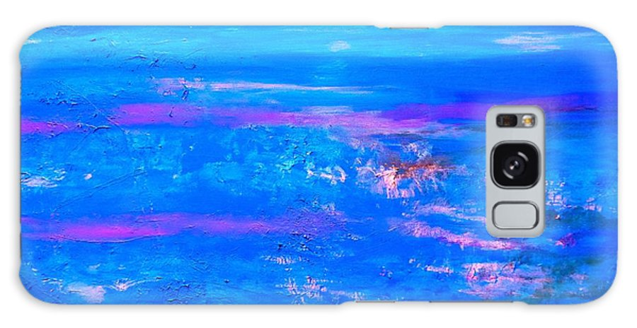 Moody Blues Abstract Galaxy S8 Case featuring the painting Moody Blues Abstract by Saundra Myles