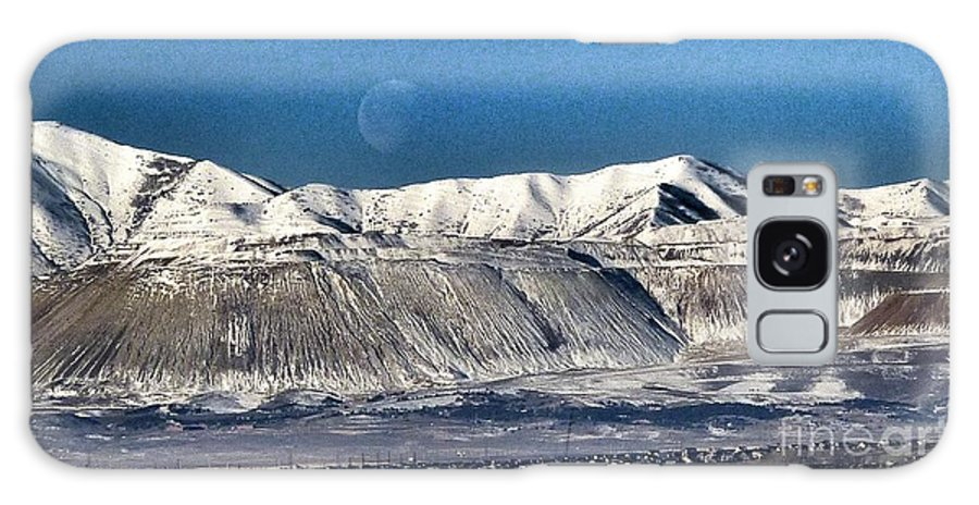 Moon Over Snow Covered Utah Mountains Galaxy S8 Case featuring the photograph Moon Over The Snow Covered Mountains by Susan Garren